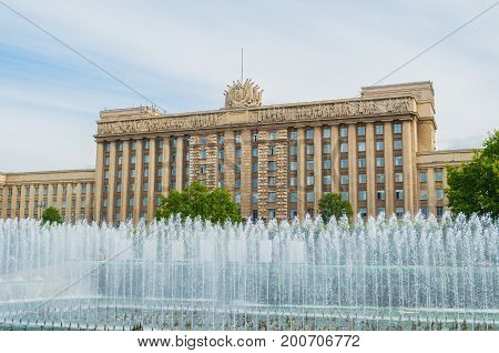 The House of Soviets - the office building built in Stalinist style in the late 1930s in St Petersburg. It is located in the Moskovsky District of St Petersburg Russia. St Petersburg Russia landmark in cloudy weather