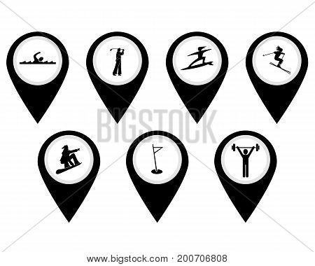 Different buttons for sports swimming surfing bobsled weightlifting golf poster