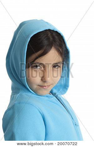 Cool eight year old girl with a hood