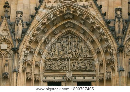 Ornaments of the main entry to the Saint Vitus Cathedral, Prague, Czech Republic