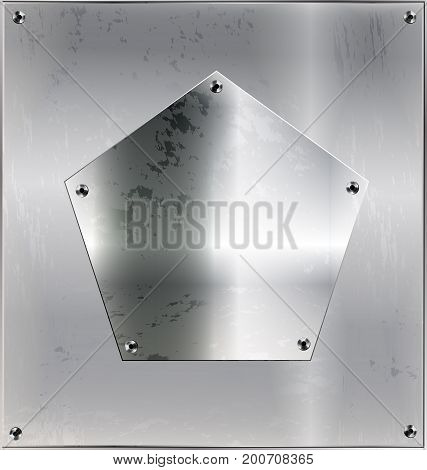iron background metal stylized sheet with geometric figure pentagon and holes