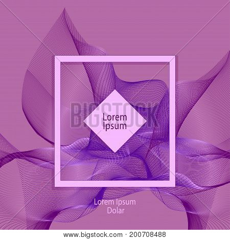 Template design with abstract smoke or with fractal   in lilac pink colors for advertising cosmetic perfume tea clothes elegant things