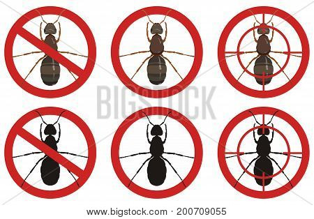 Warning stop signs with colored detailed image of an ant and its black silhouette inside red sign on white background. Fighting insect pests.