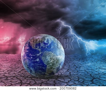 Global warming and apocalypse concept 3D illustration. Elements of this image furnished by NASA.