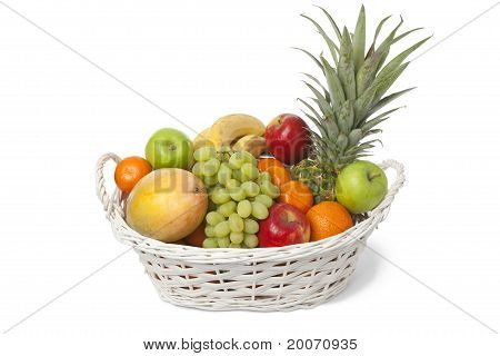 Basket with fresh fruit