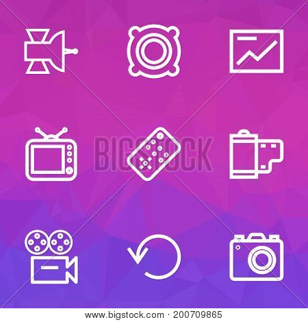 Media Outline Icons Set. Collection Of Photo, Repeat, Video And Other Elements