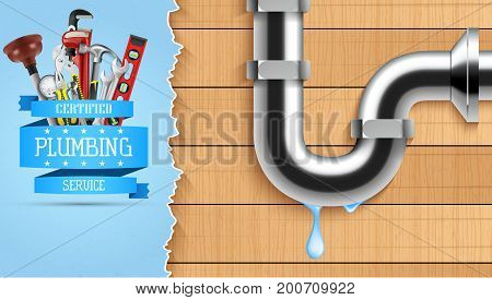 Vector illustration of Plumbing service with repair tools