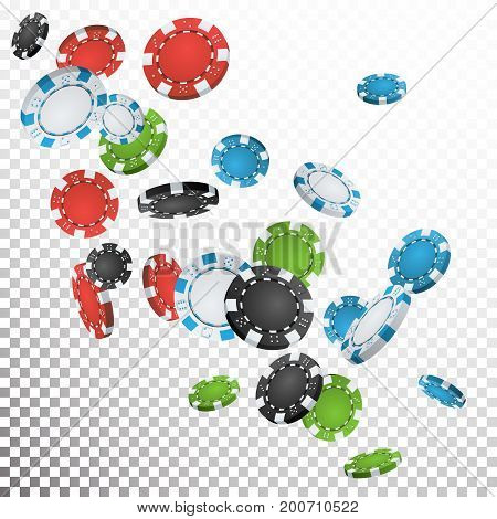 Gambling Poker Chips Rain Vector. Realistic Casino Chips Explosion Falling Down. Transparent Background. Symbol Wealth, Profit. Cash Winning Prize Money Concept Illustration