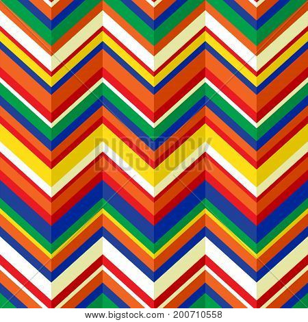 Colorful chevron geometric seamless pattern, vector background