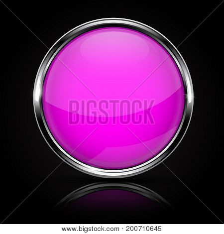 Purple glass button with chrome frame on black background. Vector 3d illustration