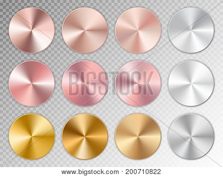 Conic gradients with a metal texture on a transparent background