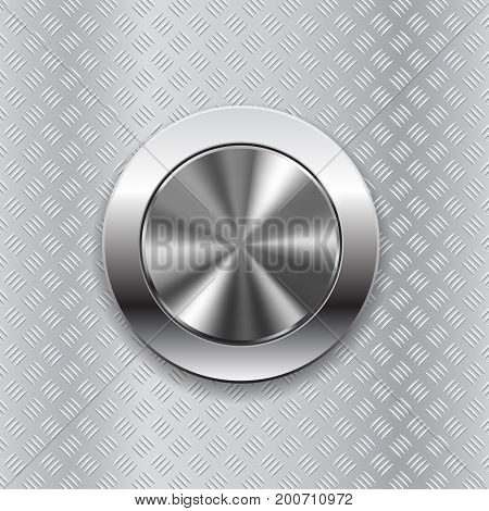 Round switch knob button on metallic non slip background. Vector 3d illustration