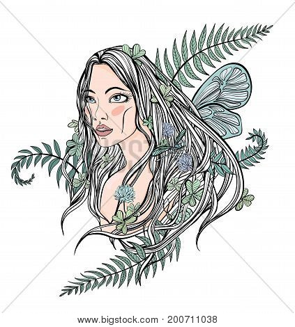 Young beautiful longhaired woman among the plants, trees and flowers. cute female face, symbol of spring, mother nature or natural cosmetics. Vector illustration, isolated on white background.