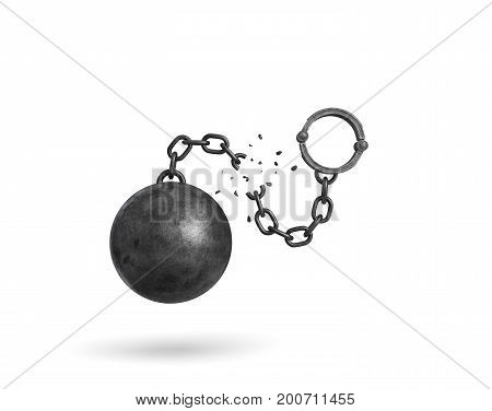 3d rendering of an isolated ball and chain broken in half with a detached shackle. Getting out. Prison break. Fight restrictions.