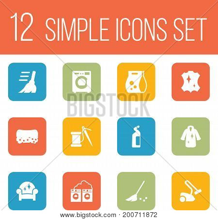 Collection Of Broom, Besom, Washing Powder And Other Elements.  Set Of 12 Harvesting Icons Set.