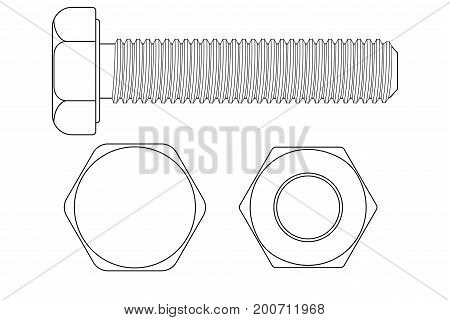 Bolt screw. Outline drawing. Vector illustration isolated on white background