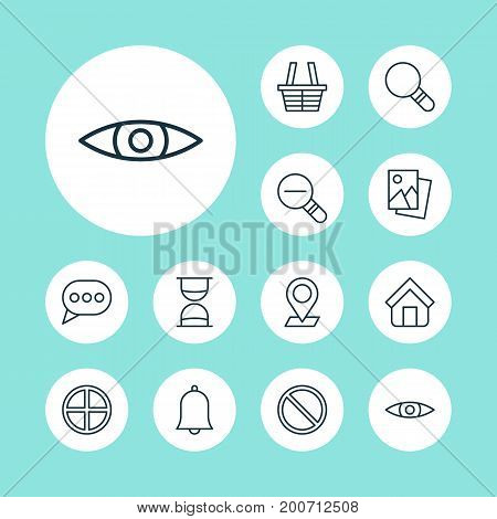Internet Icons Set. Collection Of Obstacle, Landscape Photo, Pinpoint Elements
