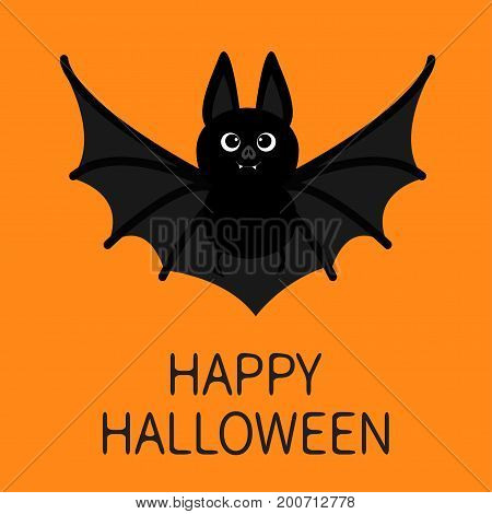 Bat flying. Happy Halloween. Cute cartoon character with big open wing ears and legs. Black silhouette. Forest animal. Flat design. Orange background. Greeting card. Vector illustration