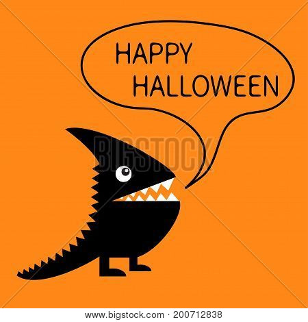 Happy Halloween greeting card. Black silhouette monster with sharp tail horn fang tooth eye. Talking thinking bubble Cute cartoon funny character. Baby collection Flat design. Orange background Vector