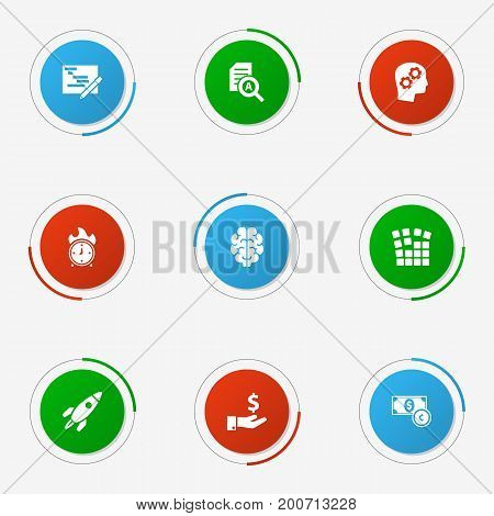 Collection Of Sponsor, Intelligence, Thinking Head And Other Elements.  Set Of 9 Startup Icons Set.