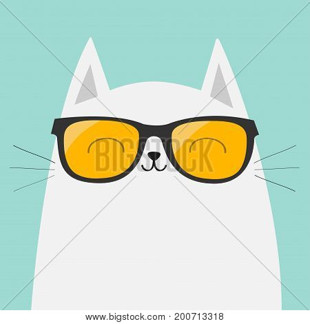 White cat wearing sunglasses eyeglasses. Smiling face. Yellow lenses. Cute cartoon funny character. Adorable kitten in eyeglasses. Fashion animal. Blue background. Isolated. Flat design Vector