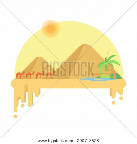 Caravan Of Camels Goes To The Oasis Against The Backdrop Of Pyramids Of Giza. Flat Vector Illustrati