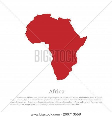 Red silhouette of continent Africa on a white background. Detailed map. Vector illustration