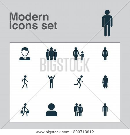 Person Icons Set. Collection Of Female, Family, User And Other Elements
