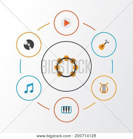 Music Flat Icons Set. Collection Of Acoustic, Dj, Rhythm And Other Elements