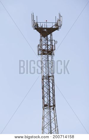 Cell telecommunication tower - equipment for mobile phone Radio antenna, telephoto shot