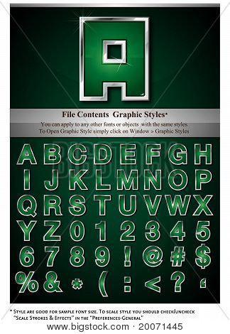 Green Alphabet with Silver Stroke