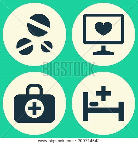Medicine Icons Set. Collection Of Surgical Bag, Cure, Tent And Other Elements