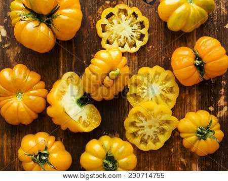 Yellow Curly Tomatoes And Greens
