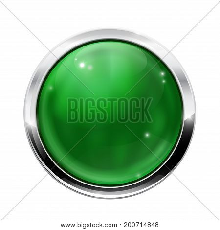 Round green button with chrome frame. Vector illustration isolated on white background