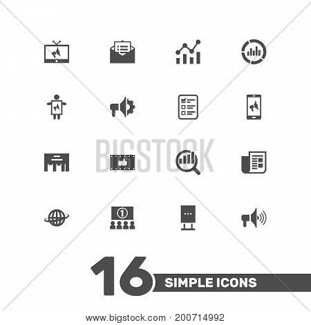 Collection Of Like, Man With Banner, Message And Other Elements.  Set Of 16 Advertising Icons Set.