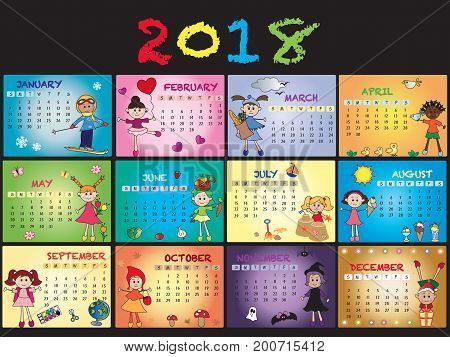 illustration of calendar 2018 with happy children