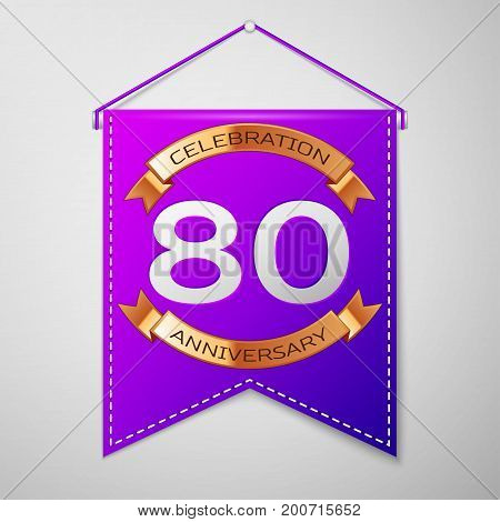 Realistic Purple pennant with inscription Eighty Years Anniversary Celebration Design on grey background. Golden ribbon. Colorful template elements for your birthday party. Vector illustration