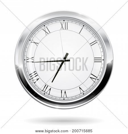 Modern clock with roman numerals. Vector illustration isolated on white background