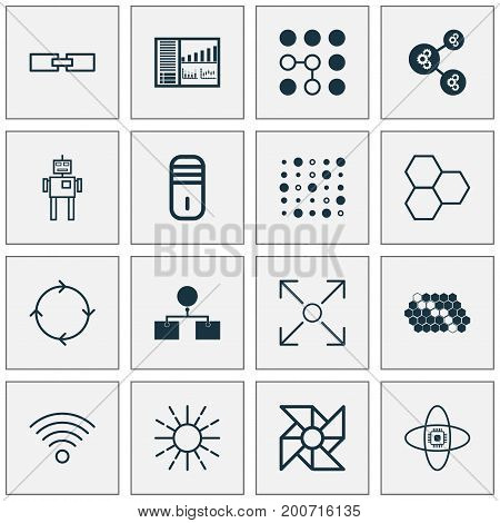 Learning Icons Set. Collection Of Atomic Cpu, Mainframe, Cyborg And Other Elements