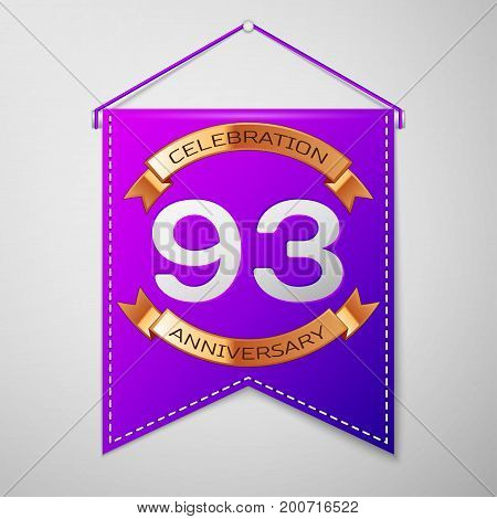 Realistic Purple pennant with inscription Ninety three Years Anniversary Celebration Design on grey background. Golden ribbon. Colorful template elements for your birthday party. Vector illustration
