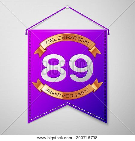 Realistic Purple pennant with inscription Eighty nine Years Anniversary Celebration Design on grey background. Golden ribbon. Colorful template elements for your birthday party. Vector illustration