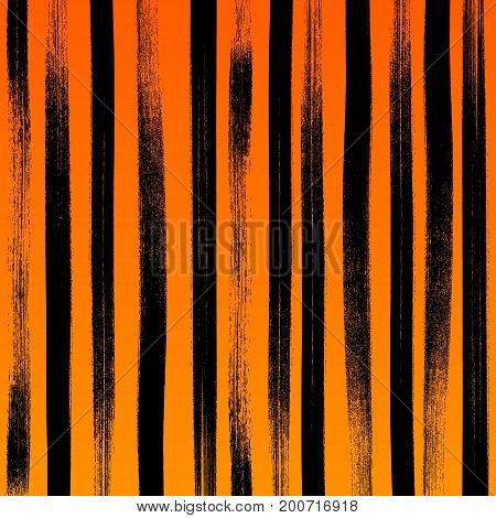 Halloween abstract paint brushstroke background. Black and orange hand drawn pattern.