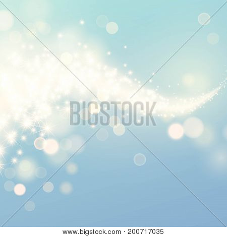 Glittering stars dust trail sparkling particles on blue background. Space glitter comet tail. Vector illustration EPS10