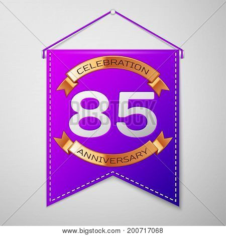 Realistic Purple pennant with inscription Eighty five Years Anniversary Celebration Design on grey background. Golden ribbon. Colorful template elements for your birthday party. Vector illustration