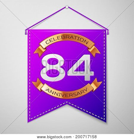 Realistic Purple pennant with inscription Eighty four Years Anniversary Celebration Design on grey background. Golden ribbon. Colorful template elements for your birthday party. Vector illustration