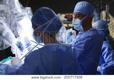Robotic Surgery. Medical robot da Vinci. Medical operation involving robot