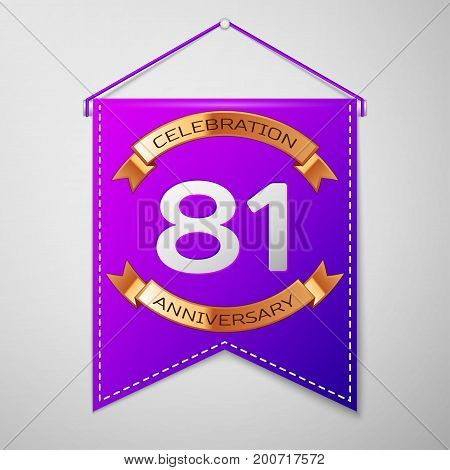 Realistic Purple pennant with inscription Eighty one Years Anniversary Celebration Design on grey background. Golden ribbon. Colorful template elements for your birthday party. Vector illustration