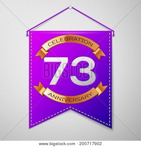 Realistic Purple pennant with inscription Seventy three Years Anniversary Celebration Design on grey background. Golden ribbon. Colorful template elements for your birthday party. Vector illustration