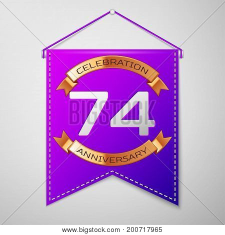 Realistic Purple pennant with inscription Seventy four Years Anniversary Celebration Design on grey background. Golden ribbon. Colorful template elements for your birthday party. Vector illustration
