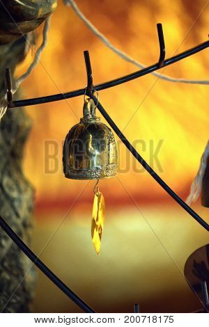 Bell-Golden bell and the pho leaf at in Buddha temple